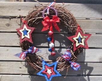 "14"" Patriotic Grapevine Wreath Star Wreath Flag Wreath Fourth Of July Wreath 4th Of July Wreath July 4th Wreath 4th Of July Door Decor"