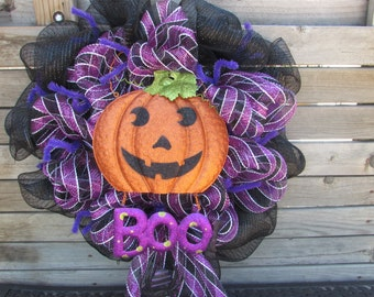 "24"" Boo Wreath- Boo Deco Mesh Wreath- Deco Mesh Halloween Wreath- Halloween Boo Wreath- Pumpkin Wreath- Jack-O-Lantern Wreath- Boo Decor"