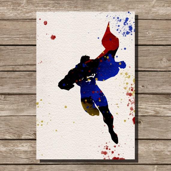 Superman Man of Steel watercolor illustrations art comic book
