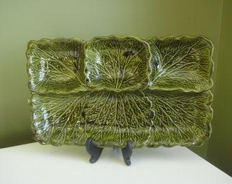 SALE-Vintage California Pottery Divided Dish Green Leaf Design