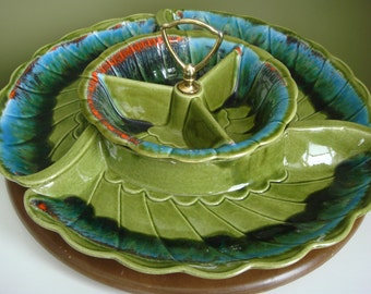Vintage Cailfornia Pottery Lazy Susan R-131 Green and Turquoise - Epsteam