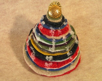 Christmas Table Top Tree from Felted Sweaters Soft Sculpture Multi Color Felt Wool Winter