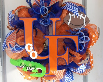 University of Florida Gators Football Deco Mesh Door Wreath
