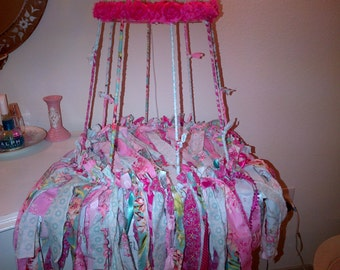 Handcrafted Ribbon Rag Fabric Shabby Chic Lampshade Frame