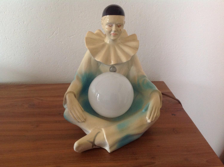 Vintage fran aise rare lampe poser pierrot en c ramique - Lampe a poser ceramique ...