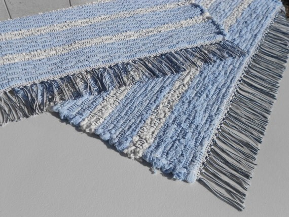 Handwoven Blue And White Cotton Rag Rug By Ragaroo On Etsy