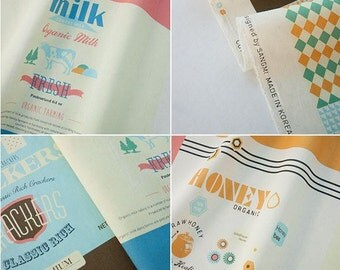 Illustration Design Cotton/Linen Blended Panel, 8 Design fabric Package