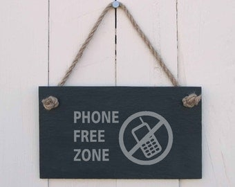 Slate Hanging Sign 'Phone Free Zone' (SR120)