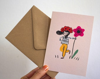 Fashionable Scandinavian Flower Gnome / Greeting Card