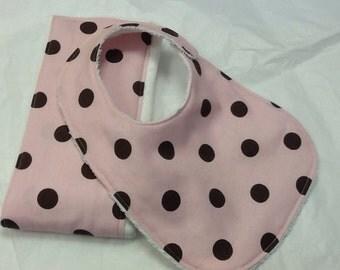Baby bib and burp cloth set in pink and brown polka dots