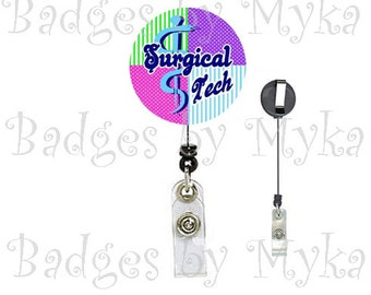 Retractable ID Badge Holder - Surgical Tech