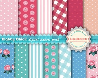Shabby Chick digital papers, digital images, printables, patterns, backgrounds, digital clipart [SC-011]