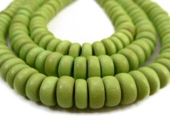 Lime Green Rondelle Bead - Wooden Bead - Disc Bead - Wood Bead - 100 Ct - Wood Disc Bead - Green Wood Bead
