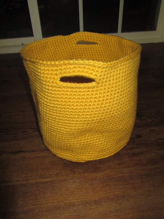 Handmade Crochet Basket : Handmade crochet basket with handles