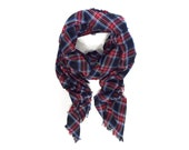 PRE-ORDER Oversized Black, Red and White Plaid Tartan Scarf