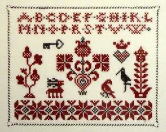 Norse Samplings counted cross stitch chart by Kingsland - Motifs of oak leaves, acorns, reindeer, key, flowers, tree of life - 2 colors