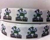 "5 Yards Notre Dame Irish Grosgain Ribbon 7/8""Printed Grosgrain Ribbon"