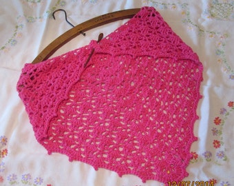 Crocheted lightweight lacy triangular scarf/shawlette, handmade from a mix of bamboo and cotton