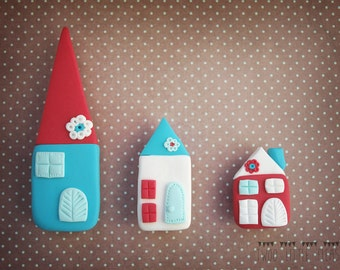 magnet set, set of three magnets, houses magnets, little house magnet, kitchen magnets, winter houses magnets