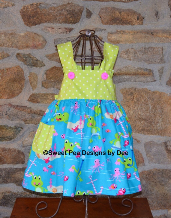 Sundress, beach cover up, sea life. Ocean,frogs, toddler dress