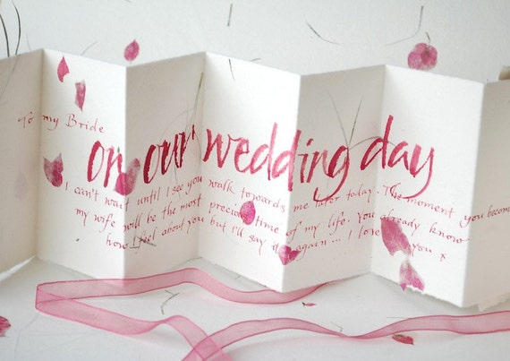 items similar to to my bride on our wedding day handwritten card pink petal paper love letter wedding vows from the groom gift for bride or groom