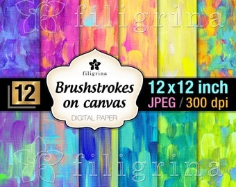 ART BRUSHSTROKES on canvas digital scrapbook paper, 12x12 inch, 12 pcs mix & match, printable background / craft supplies / instant download