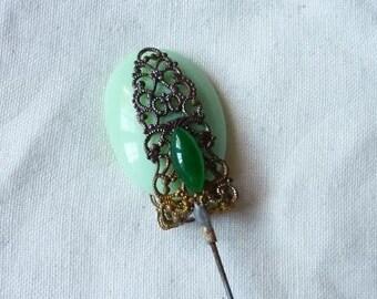 Antique, Green Glass Bead And filigree Hatpin Stickpin
