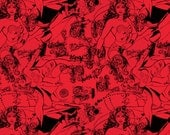 Girl Power II Red Tonal Characters - 1 yard - Camelot Cottons