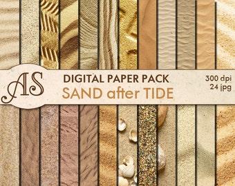 Digital Sand Paper Pack, 24 printable Digital Scrapbooking papers, fotorealistic Digital Collage, seaside clip art, Instant Download, set 29