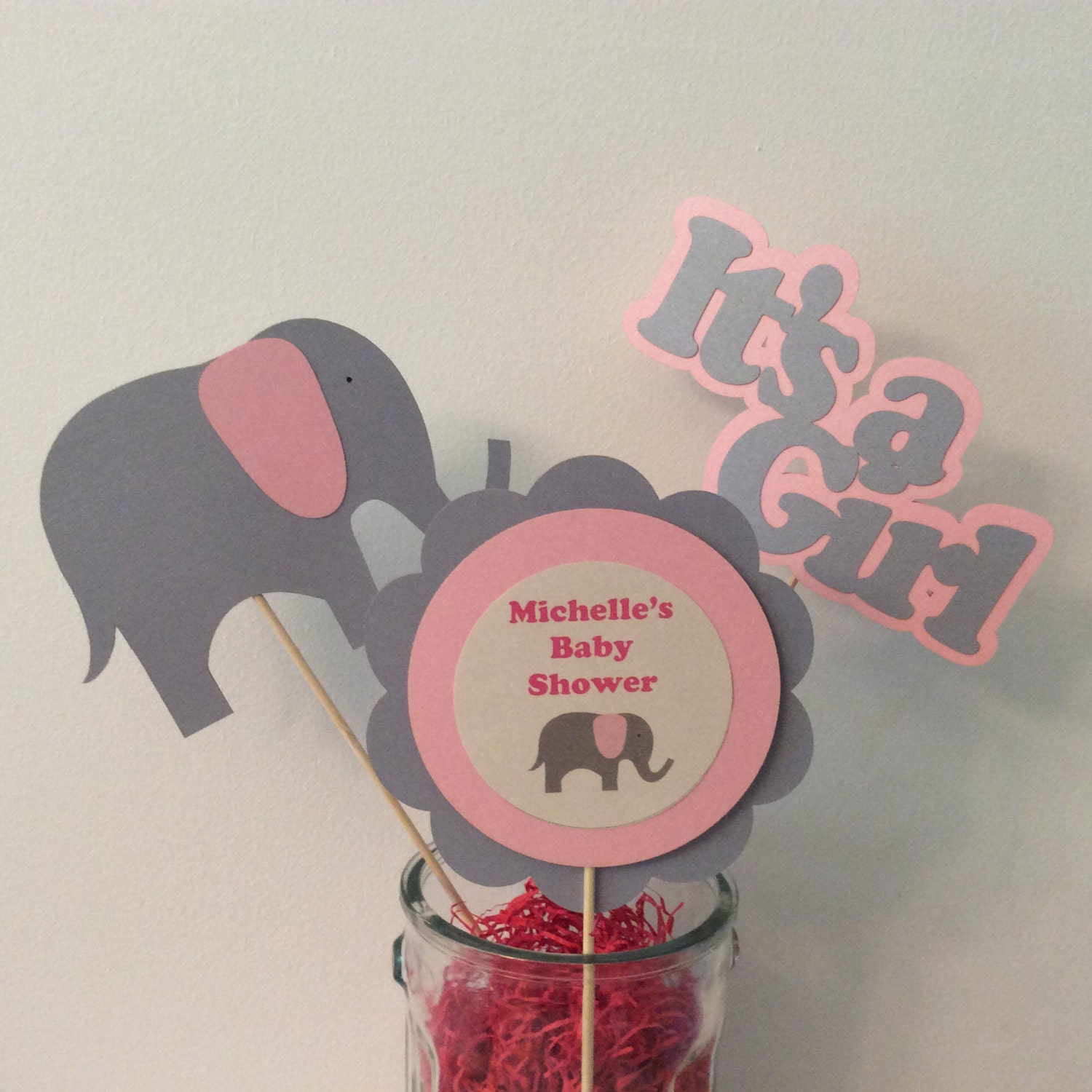 pink elephant baby shower centerpiece sticks set of 3 baby
