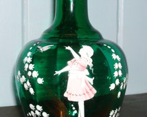 Antique Vintage Hand-Painted Mary Gregory Decanter/Vase with Lily of the Valley Design- Hand Blown Emerald Green Glass