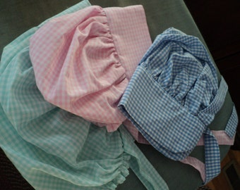 "Custom Sun bonnet Little House on the Prairie gingham/ solid color cotton with elastic neck ""band"" (made to order)"