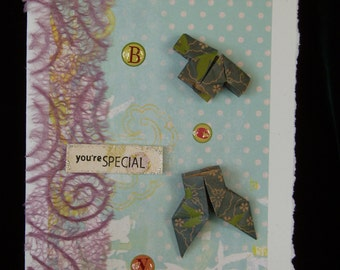 Hand Made Origami Boy Card/ Origami Shirt/ Origami Pants/ You're Special Greeting Card
