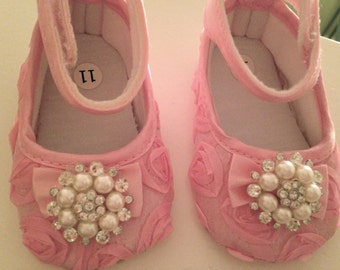 Pink rosette baby shoes- Christening and Baptism crib shoes--pink newborn shoes