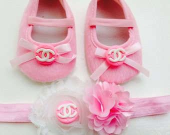 Pink baby shoes--pink crib shoes--newborn pink shoes--princess shoes