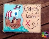 captain name canvas, pirate themed canvas childrens decor room decor pirate