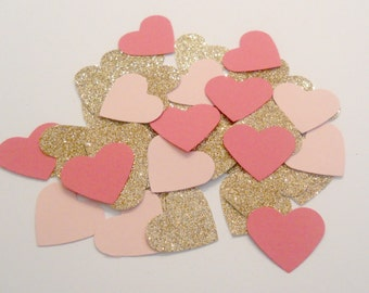 Pink and Rose Gold Glitter Wedding Confetti Bridal Shower Confetti Baby Shower Confetti Heart Confetti