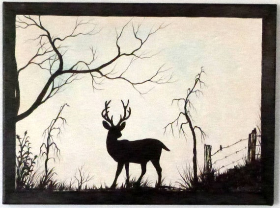 Deer standing strong. Rustic 12 x 16 Acrylic on