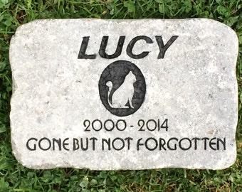 "Cat grave marker heavy duty 6""x9"" stone memorial"