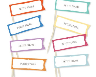 Printable Label Flags for use with toothpicks - Custom Color Option