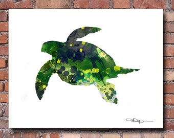 Sea Turtle Art Print - Abstract Watercolor Painting - Wall Decor