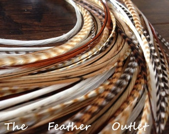 Hair Feathers, 20 Feather Hair Extensions, Real Long Natural Feathers, Brown, White, Plume Cheveux, NAT NB