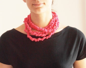Fabric pink knots necklace