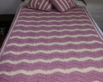 Crochet chevron throw, crochet blanket, chevron stripe throw, afghan, bed cover, sofa cover, pink and cream throw, dusky pink and cream.