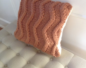 Vertical zig-zag pattern,16x16 inches knitted pillow cover