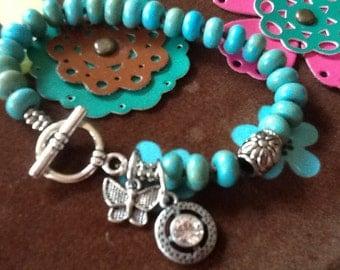 Butterfly Bracelet Turquoise Bracelet Gemstone bracelet Women's bracelet hand knotted bracelet Boho Bracelet