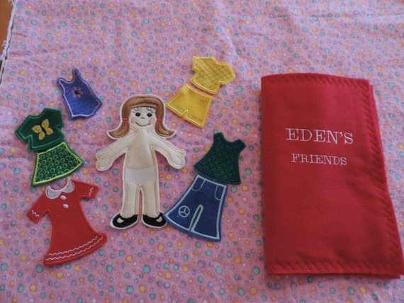 "4-1/2"" x 7"" Machine Embroidered Paper Doll Style Felt Dress-Up Doll (Eden)"