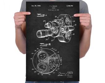 "Vintage 1938 ""Camera"" Patent Drawing, Retro Art Print Poster, Canvas, Wall Art, Home Decor, Hollywood, Filmmaking, Cinema, Movies, Gift Idea"