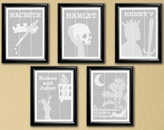 Shakespeare Collection, 5 full-text posters (with titles), 16x20--Macbeth, Hamlet, Henry V, Romeo & Juliet, A Midsummer Night's Dream
