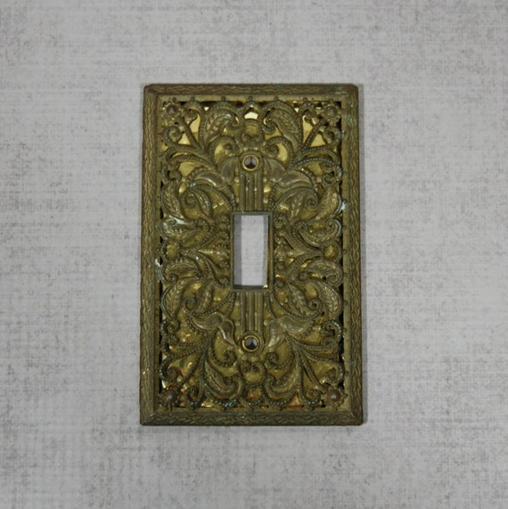 Decorative Light Switch Cover Plate Aged Brass Patina Cast